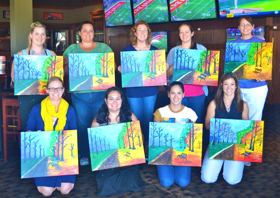 Mothers of multiples meet and together paint pictures of trees and a scenery on canvas with oil and pastels.